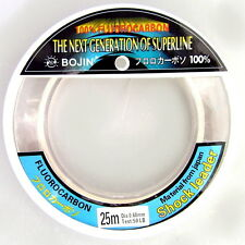 Bojin Fishing Line 100% Fluorocarbon Leader 50lb 25m Tough Monofilament Trace