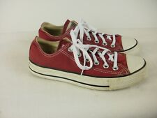 A PAIR OF LADIES MAROON CANVAS CONVERSE SHOES- TRAINERS SIZE UK5.