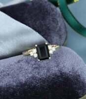 2.50 Ct Emerald Cut Black Onyx Diamond Vintage Wedding Ring 14k Yellow Gold Over