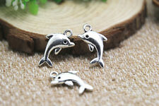 20pcs-Dolphin Charms, Antique Tibetan Silver 2 sided Dolphin pendants 5x14x17mm