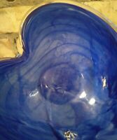 Heart Shaped Dish Murano Lavorazione Arte Italy Cobalt Swirl Art Glass Bowl Dish