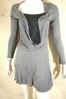 ALDO MARTIN'S Taille 42 USA 10 Superbe robe manches longues gris noir laine méla