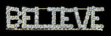 BELIEVE - Clear Crystal Jewelry Pin - Christmas