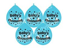 """8 X BABY BOY CHRISTENING BLUE BALLOONS 10"""" AIRFILL PARTY DECORATION (BGC)"""