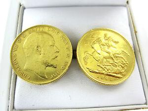22K YELLOW GOLD CUFFLINKS 1902 SOVEREIGN GOLD KING EDWARD VII UK BRITISH ENGLAND