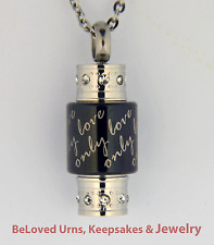 """Only Love"" Mini-Cylinder Cremation Jewelry Pendant Urn with Necklace & Funnel"