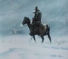 Horse and Rider in Blizzard vintage art