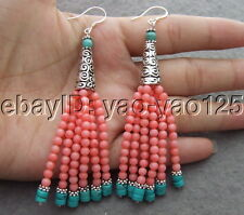 Pink Coral Turquoise Earrings