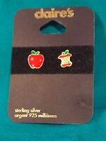 One pair of Claire's sterling silver Red Apple Earrings