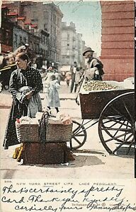 POSTCARD NEW YORK - STREET LIFE -  LACE PEDDLERS - CIRCA 1907