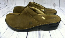 Born Brown Suede Leather Slip On Shoes Mules Clogs Size 10 EUR 42
