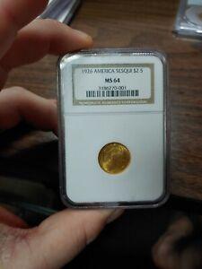 1926 $2.5 Gold America Sesquicentennial Commemorative Quarter Eagle ngc MS64