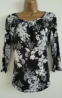 NEW Ex M&Co Floral Print Black White Grey Casual Top Blouse Size 8-18