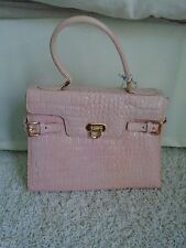 Muska Milano Handbag Purse Pink Leather Closure Gold Buckle Strap with Tags