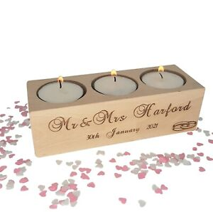 Personalised wooden candle / tealight holder & choice of candles. Wedding gift.
