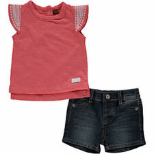 BNWT 7 SEVEN FOR ALL MANKIND BABY GIRLS DENIM SHORTS & TOP SET OUTFIT 6-9 MONTHS