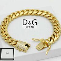"DG Men's 8.5"" Gold.Stainless Steel 12mm Miami Cuban CZ Bracelet,BOX"