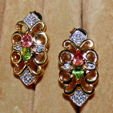 Natural Padparadscha Sapphire and Peridot Earrings