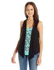 Self Esteem Juniors Graphic Tank with Faux Suede Vest, Black, XS