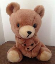 1977 Dakin Mother and Cub Baby Brown Bear Teddy Plush Stuffed Animal VTG 70s