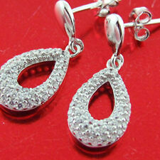 Diamond Simulated Stud Drop Design Earrings Genuine Real 925 Sterling Silver