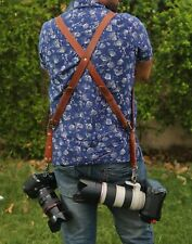 Leather Dual Camera Harness Leather Shoulder Strap Slider Release Lens DSLR Belt