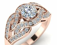 Intertwined Forever One Moissanite Engagement Ring in 14k Rose Gold
