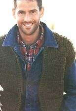 Mens Rib Patterned Gilet ( S, M, L, XL,XXL) Knitting Pattern