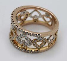 18k Solid Rose Gold Diamond Studded Heart Ring Band 98 Stones Designer Estate