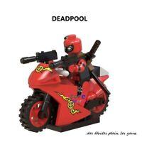 Mini Figurine Deadpool avec sa moto et ses armes type lego a l'unité neufs!