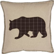 WYATT BEAR Applique Pillow Rustic Cabin Lodge Woodland Hunting Plaid Khaki VHC