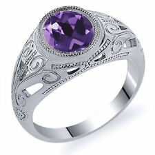 Heating Natural Amethyst Sterling Silver Fine Rings