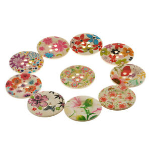 10x Flower Round Wooden Buttons 4-holes for Scrapbook Sewing Decoration 50mm