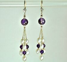 14k solid y/gold natural Amethyst and freshwater White Pearl earrings leverback