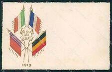 Militari WWI Propaganda Bandiere Alleati Silk Flags 1915 cartolina XF0424