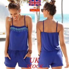 UK Womens Summer Sleeveless Mini Playsuit Ladies Jumpsuit Beach Holiday Shorts