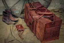"Men's genuine Leather 24"" large vintage duffle travel gym weekend overnight bag"