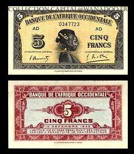 Billet Afrique Occidentale AD 5 Francs14 décembre 1942 Série B Signature fermée