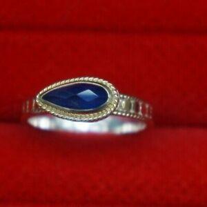 NWB Anna Beck Sterling Silver Gold Blue Precious Gem Stone Statement Ring 8.5 L