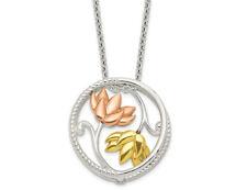 Amarillo, Rosa y Blanco Floral Círculo Collar en plata esterlina con cadena