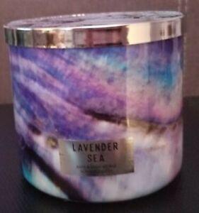 LAVENDER SEA Bath & Body Works Scent 3 Wick Candle Sweet Seaside Ocean Fragrance