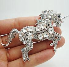 Hot Sale Bride Unicorn Horse Clear Rhinestone Crystal Brooch Pin Fashion Animal