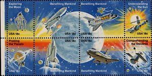 US NASA BENEFITING MANKIND 1912-1919 18c SPACE ACHIEVEMENTS MVF 8 STAMP BLOCK