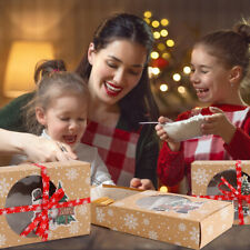 12x Christmas Cookie Clear Window Gift Boxes Built-in Drawer Box for Kid Child
