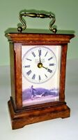 Wood Desk Clock Quartz Battery Operated With Handle