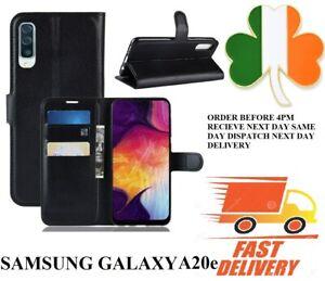 Samsung Galaxy A20e NEW  PU Leather new book case screen cover black