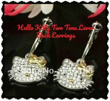 Hello Kitty Two Tone Gold Silver Rhinestone 925 Silver Lever Back Drop Earrings