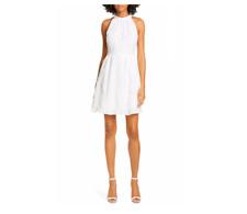 TED BAKER LONDON Women's Lorene Embroidered Skater Minidress Size 12 White