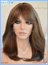 Skin Top Mid Length Wig Layered with Bangs Color 8/12/24B HL  USA Seller