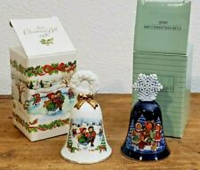 Vintage Avon Christmas Bells 1986 & 1987 Porcelain, Gold Tone Trim with box